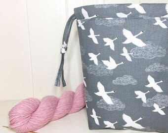 Flying South Swans project bag, sock project bag, small project bag, knitting storage, gift for knitter, crochet