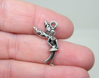 4 Silver Tone Fairy or Pixie Charms. B-012