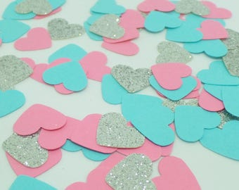 "Pink, Blue and Silver glitter heart confetti 5/8"" (250 pieces) Baby Shower, Decor, Wedding, Birthday, Gender reveal, Engagement Party"