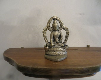 Silver Metal Buddha figuring incense holder part w/ free ship