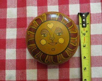 Sun Wood Trinket Box - Jewelry Container - Vintage Home Decor