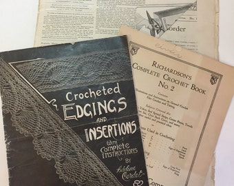 Three 1910's Illustrated Crochet & Needlework Booklets