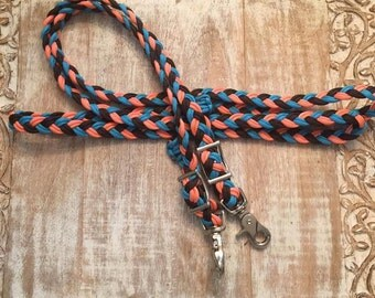 Coral, turquoise, and dark brown reins