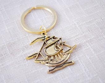 Ship keyring,  FREE SHIPPING, Gold Keyring, nautical keychain, pirate ship keyring, men keyring, girlfriend gift, key chain