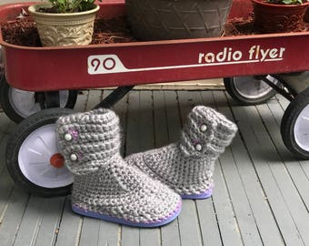 fashionable gray sweater boots