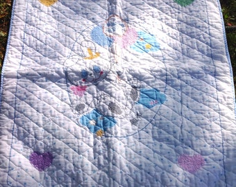 Quilted and cross stitch embroidered baby crib blanket vintage