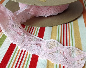 Vintage Pink Stretchy Lace Trim For Underwear, Panties, Bras and Headbands 2 Inches Wide