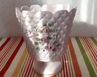 Vintage Lefton China Bisque Rose Pink Floral Vase, Vintage Lefton, Lefton China Vase, Lefton Porcelain