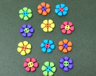 Bright Flower Buttons - Dress it Up Sew Cute Button Flower - Novelty Buttons - Two-Tone Flowers - Sewing - Craft - Card Making Scrapbooking