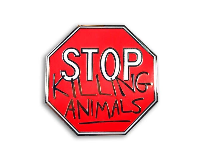 Vegan Stop Sign Pin