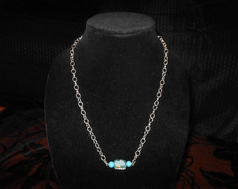 terquoise decorated barrel stone necklace