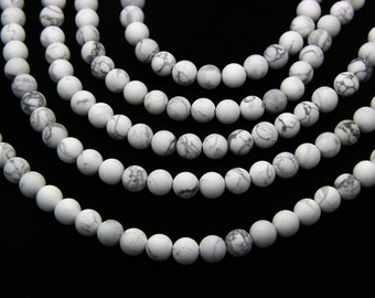 Matte White Howlite Beads 6mm 8mm 10mm Natural White Grey Beads Matte White Gemstones Mala Beads Supplies for Bracelet Necklace Jewelry