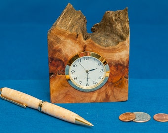 Natural edge elm clock