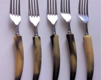 Set Of Five Vintage Bakelite Forks Vintage Flatware