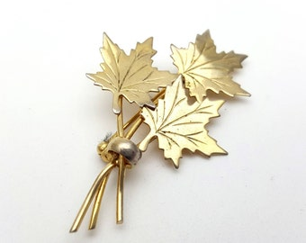 Modern Gold tone Metal Three Maple Leaves Brooch Vintage from the 90s Emblem Symbol Tree Runway Statement Jewelry Fall Leaf Leaves falling
