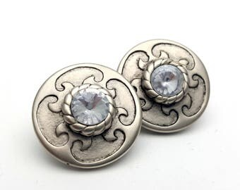 Clip On Silver Tone Plastic with Clear Faux Rhinestone Round Stud Earrings Vintage 80s Fashion Lightweight Simple