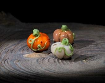 Glass beads - pumpkin. lampwork beads. Handmade beads. Culinary miniature. Beads vegetables. Lampwork pumpkin.