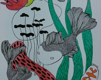 Coral reef fish underwater scene, A4 original ink and watercolour wall decor