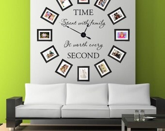 TIME Spent with family Is worth every SECOND Clock Vinyl Wall Art ~ CLOCK001
