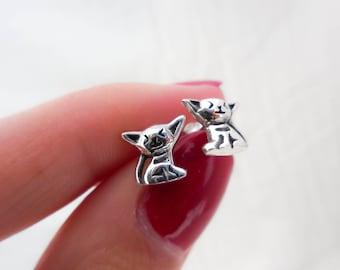 Oxidized 925 Sterling Silver Chihuahua Earrings, Chihuahua Earrings, Chihuahua Studs, Chihuahua Lovers, Dog Earrings, Dog Studs