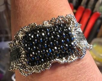 NO 148 Hand Beaded Crystal Glass Hematite Bracelet