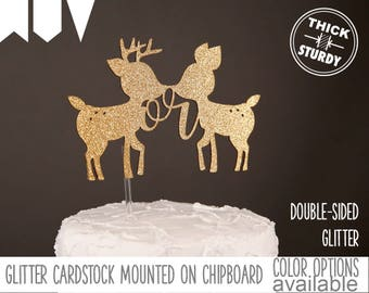 buck or doe cake topper, gender reveal cake topper, woodland gender reveal, woodland baby shower, Glitter party decorations, cursive topper