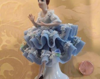 Antique Dresden Porcelain Dancer Figurine,1950