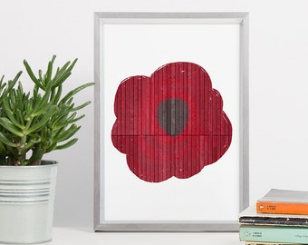 Printable Wall Art - Red Flower Print