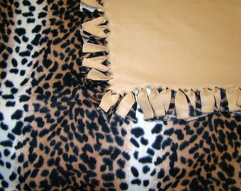 Leopard / Tan Fleece Tie Fringe Blanket