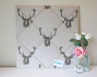 Large Handmade Stag Fabric Notice Board / Memo Board / Message Board