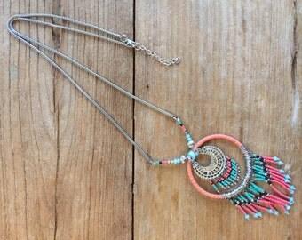 Coral Dreamcatcher Necklace