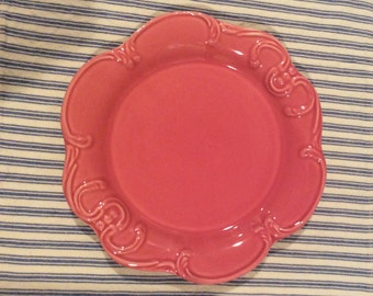 "Pink scroll Frutuoso & Frutuoso 8"" plate-Portugal-dinnerware-serving"