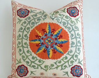 SALE Suzani pillow suzani pillow cover orange blue green beige red suzani pillow designer pillow throw pillows sofa pillows pillow sham