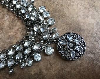 Chunky Diamond Bib Necklace with Silver Locket