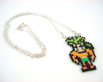 Final Fantasy 6 Gau Necklace - Pixel Necklace Pixel Jewelry Video Game Jewelry Nerdy Gift Geeky Gift Seed Bead Necklace FFVI Jewelry