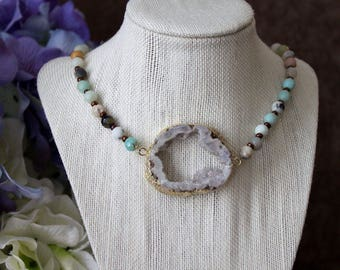 Stone necklace, aqua druzy necklace, round druzy necklace, druzy bib necklace, bib necklace, crystal necklace, boho necklace, amazonite bead