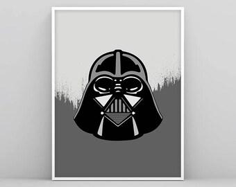 Darth Vader Wall Art, Darth Vader Decor, Star Wars Poster, Black and White Star Wars, Printable Darth Vader, Star Wars Art, Nursery Print