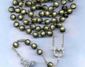 Dark olive green 10 mm 5 decade chain rosary