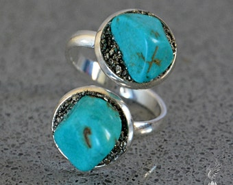 December Birthstone Ring - Raw Turquoise Jewelry - Turquoise Ring - December Jewelry - Sagittarius Blue Boho Ring -  Christmas Gift for Her