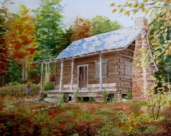 Log Cabin Painting Etsy