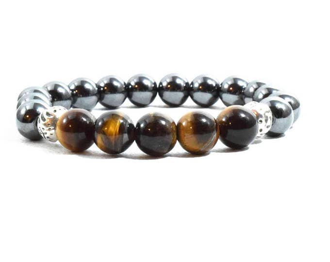 Unisex Bracelet with Hematite and Tiger Eye beads.