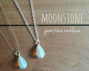 Moonstone Teardrop Necklace - Barely There, Simple Necklace, Girly Dainty Necklace, Floating Gemstone Necklace, Unique Gift for Her