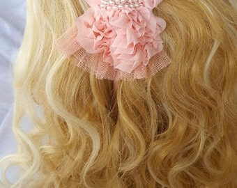 Peach Flower Headband, Beautiful Headband, Decorated Bride, Bridesmaid, Flower girl, Everyday Headband