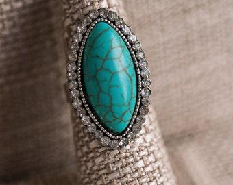 Boho/Art Nouveau/Southwestern/Silver/Turquoise/Diamond/Ring/Oval/Large/Statement/Hippie/Festival/Chic/