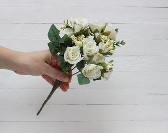 White rose Fabric flowers Artificial flower bouquet Fake flowers Bouquet Artificial flowers bouquet Rose bouquet -1091