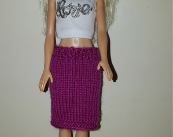 """Barbie Knee Length skirt in pink. Made to fit classic barbie but will fit other dolls of a similar size (11-12"""")"""