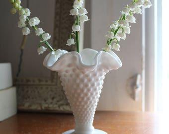 Small Hobnail Fenton Milk Glass Vase