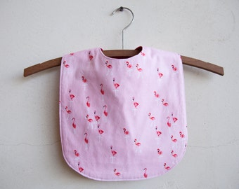 FLAMINGO BIB reversible, extra coverage, handmade, with snaps
