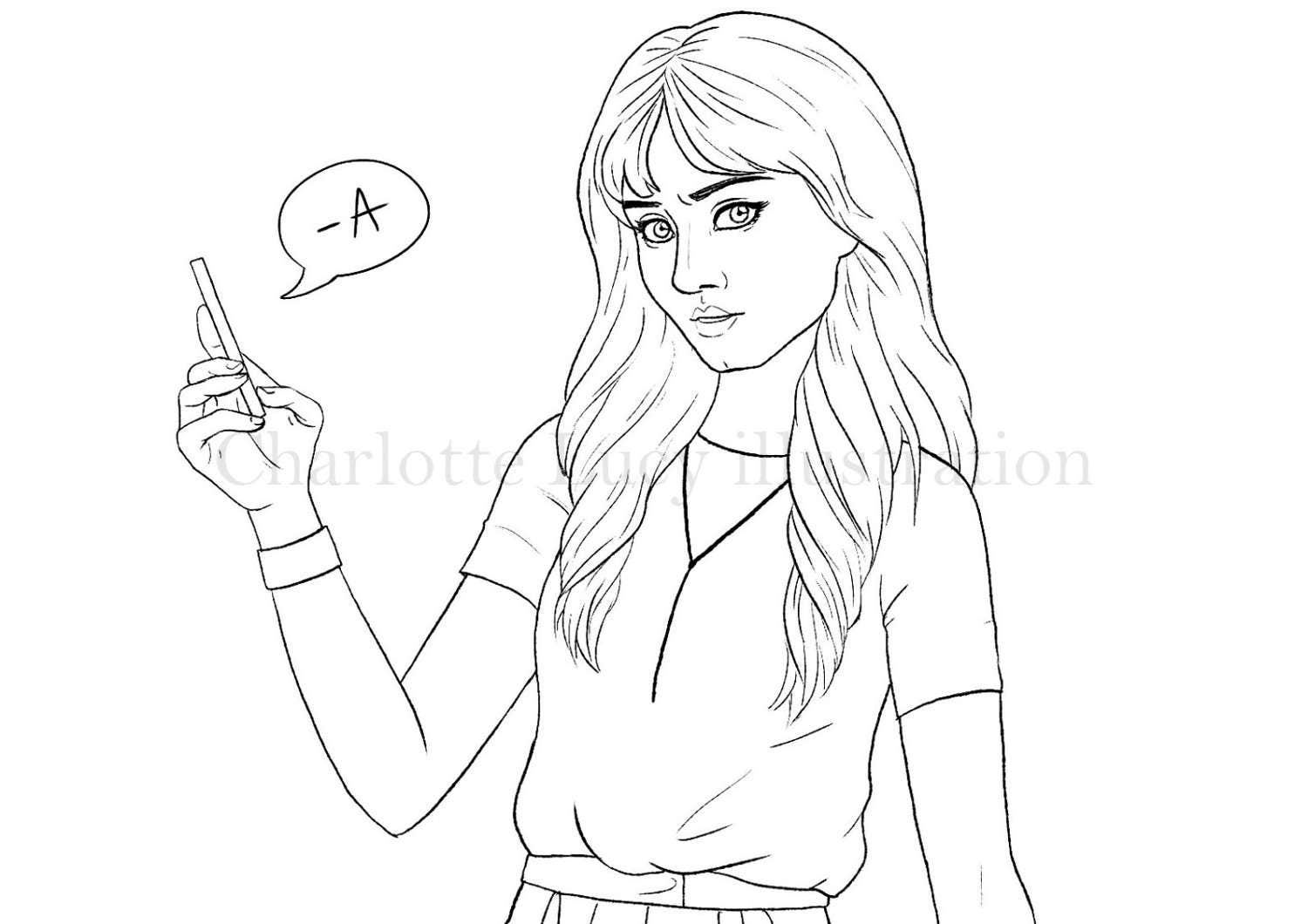 Spencer colouring page instant download pretty little for Pretty little liars coloring pages