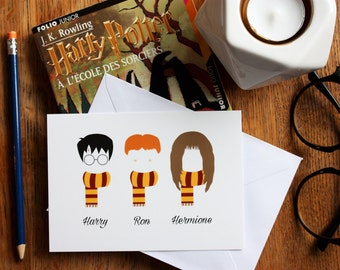 Card A6 Harry Potter, Ron, Hermione, illustration, characters